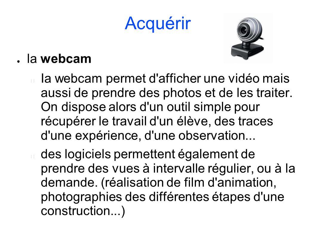 Acquérir la webcam Ia webcam permet d'afficher une vidéo mais aussi de prendre des photos et de les traiter. On dispose alors d'un outil simple pour r