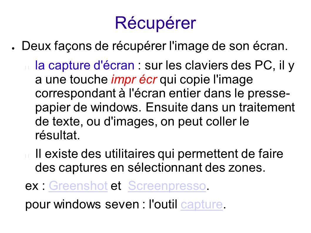 Récupérer Deux façons de récupérer l'image de son écran. la capture d'écran : sur les claviers des PC, il y a une touche impr écr qui copie l'image co