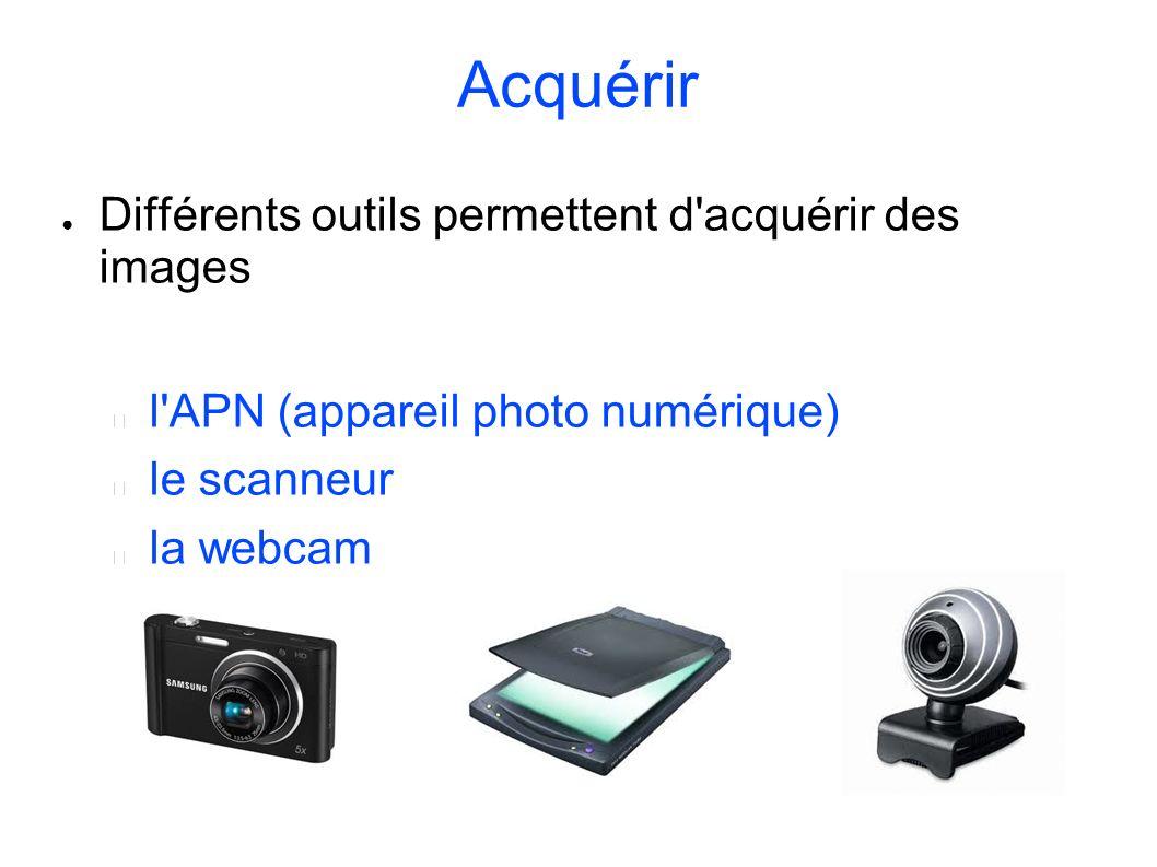 Acquérir Différents outils permettent d'acquérir des images l'APN (appareil photo numérique) le scanneur la webcam