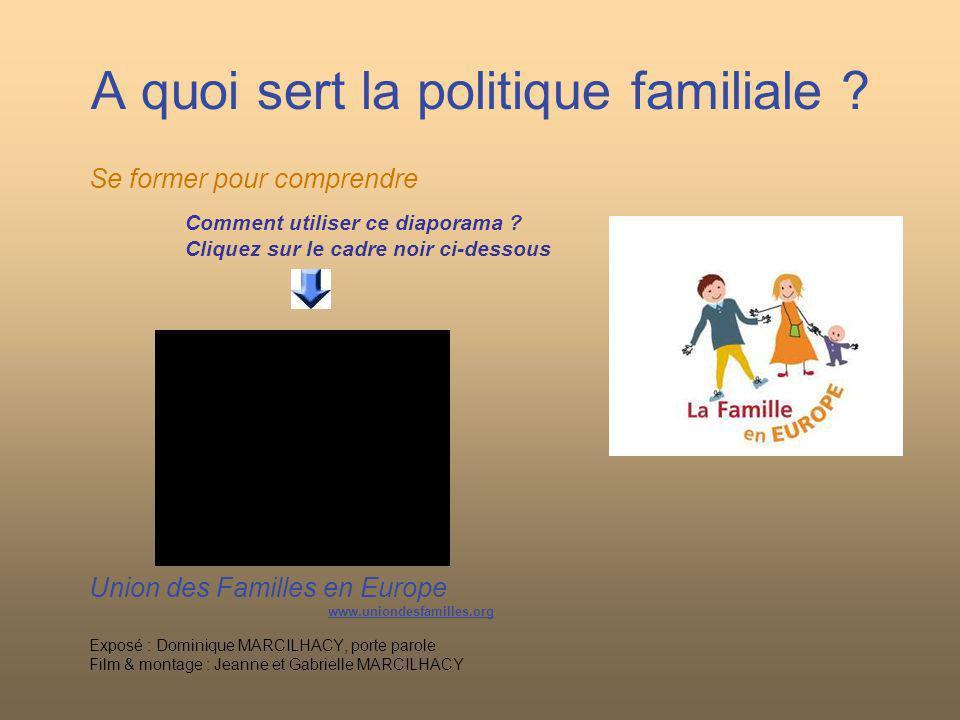 A quoi sert la politique familiale ? Se former pour comprendre Comment utiliser ce diaporama ? Cliquez sur le cadre noir ci-dessous Union des Familles