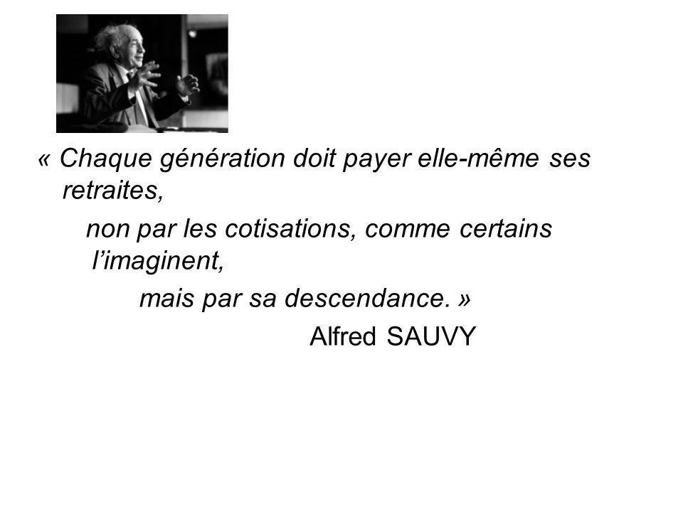 « Chaque génération doit payer elle-même ses retraites, non par les cotisations, comme certains limaginent, mais par sa descendance. » Alfred SAUVY