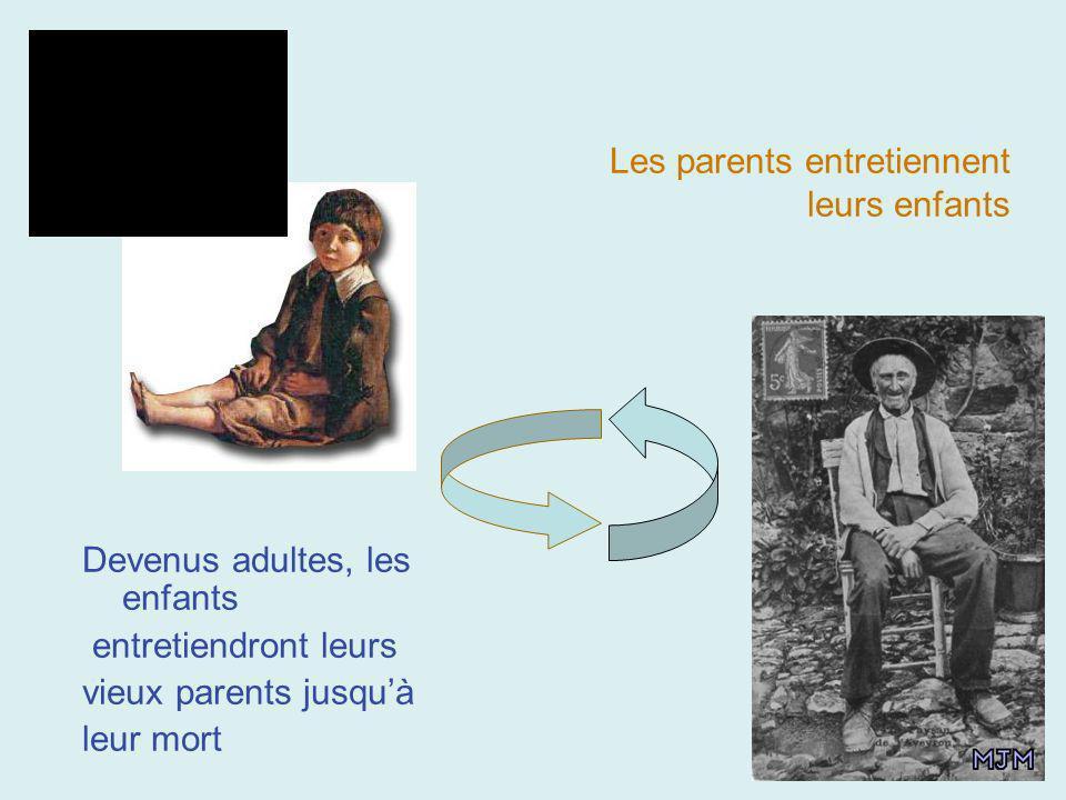 Les parents entretiennent leurs enfants Devenus adultes, les enfants entretiendront leurs vieux parents jusquà leur mort