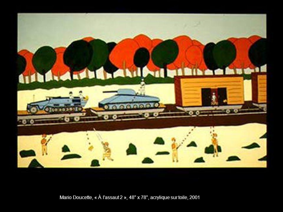 Mario Doucette, « À l assaut 2 », 48 x 78 , acrylique sur toile, 2001