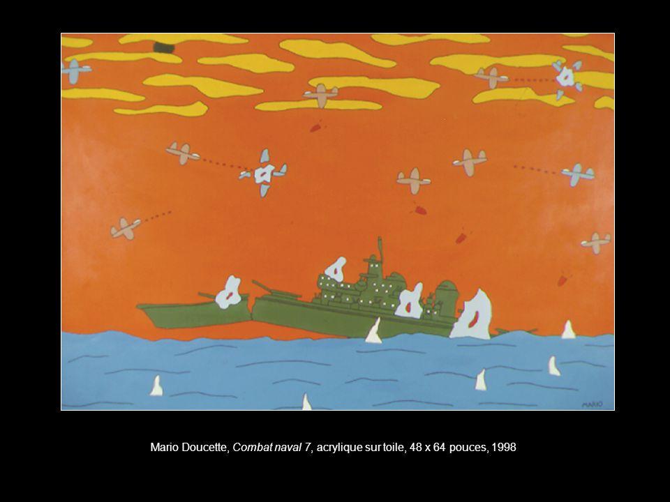 Mario Doucette, Combat naval 7, acrylique sur toile, 48 x 64 pouces, 1998