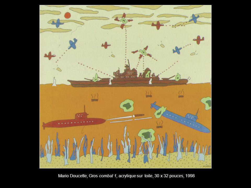 Mario Doucette, Gros combat 1, acrylique sur toile, 30 x 32 pouces, 1998