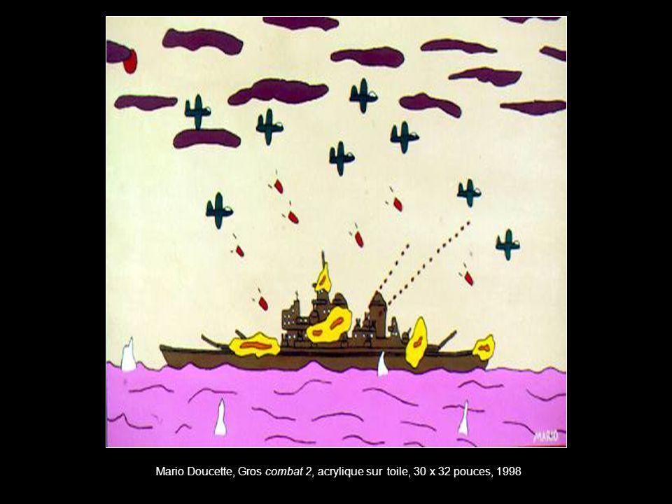 Mario Doucette, Gros combat 2, acrylique sur toile, 30 x 32 pouces, 1998