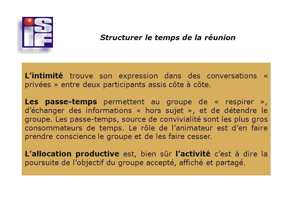 Structurer le temps de la réunion Lintimité trouve son expression dans des conversations « privées » entre deux participants assis côte à côte.