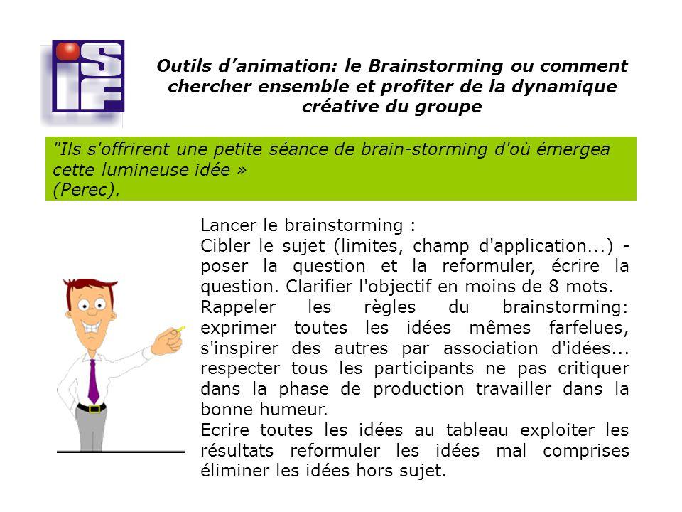 Outils danimation: le Brainstorming ou comment chercher ensemble et profiter de la dynamique créative du groupe Ils s offrirent une petite séance de brain-storming d où émergea cette lumineuse idée » (Perec).