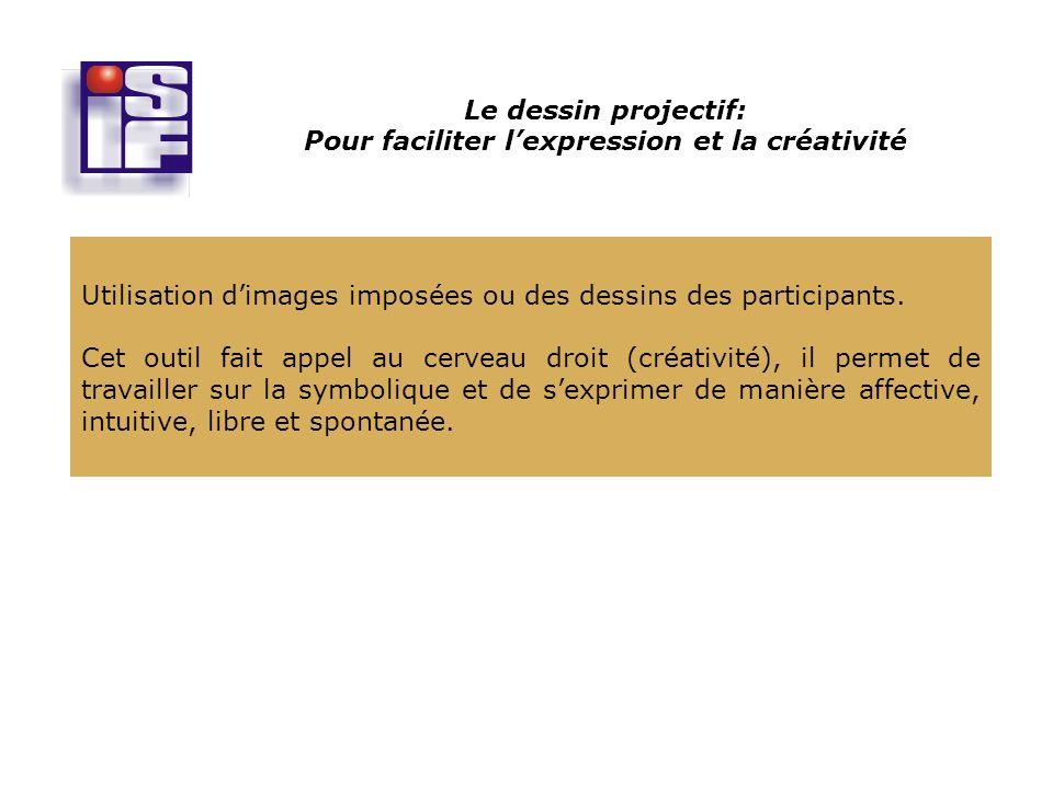 Le dessin projectif: Pour faciliter lexpression et la créativité Utilisation dimages imposées ou des dessins des participants.