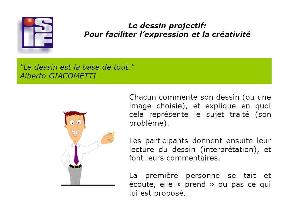 Le dessin projectif: Pour faciliter lexpression et la créativité Le dessin est la base de tout. Alberto GIACOMETTI Chacun commente son dessin (ou une image choisie), et explique en quoi cela représente le sujet traité (son problème).
