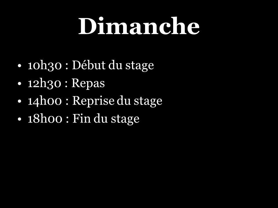 Dimanche 10h30 : Début du stage 12h30 : Repas 14h00 : Reprise du stage 18h00 : Fin du stage