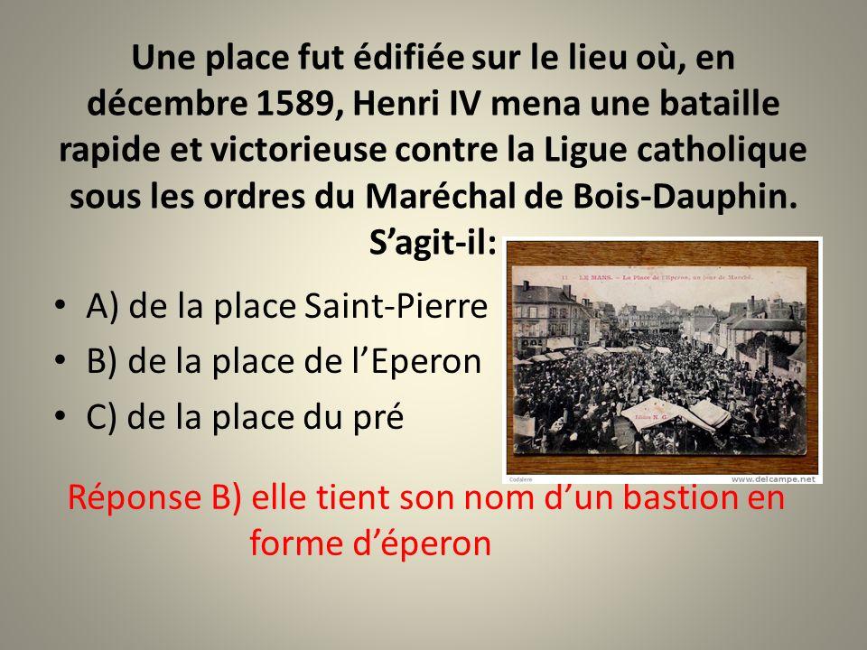 Quelle reine dAngleterre a vécu au Mans pendant vingt-six ans? A) Bérengère de Navarre B) Mathilde dAngleterre C) Aliénor dAquitaine Réponse : A) Bére