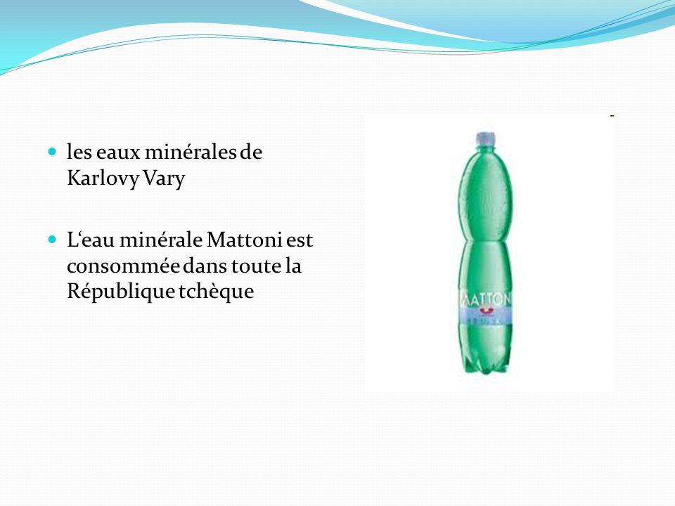 les eaux minérales de Karlovy Vary Leau minérale Mattoni est consommée dans toute la République tchèque