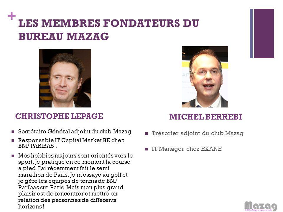 + LES MEMBRES FONDATEURS DU BUREAU MAZAG CHRISTOPHE LEPAGE Secrétaire Général adjoint du club Mazag Responsable IT Capital Market BE chez BNP PARIBAS.