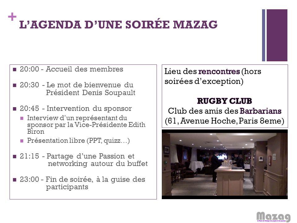 + LAGENDA DUNE SOIRÉE MAZAG 20:00 - Accueil des membres 20:30- Le mot de bienvenue du Président Denis Soupault 20:45- Intervention du sponsor Intervie