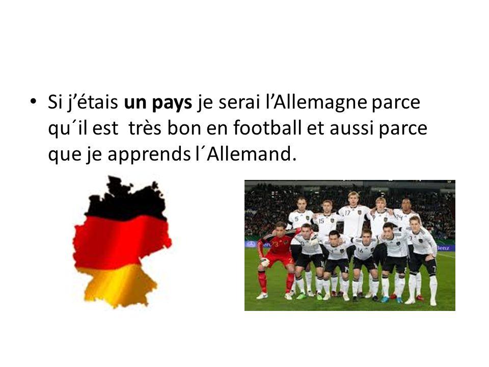 Si jétais un pays je serai lAllemagne parce qu´il est très bon en football et aussi parce que je apprends l´Allemand.