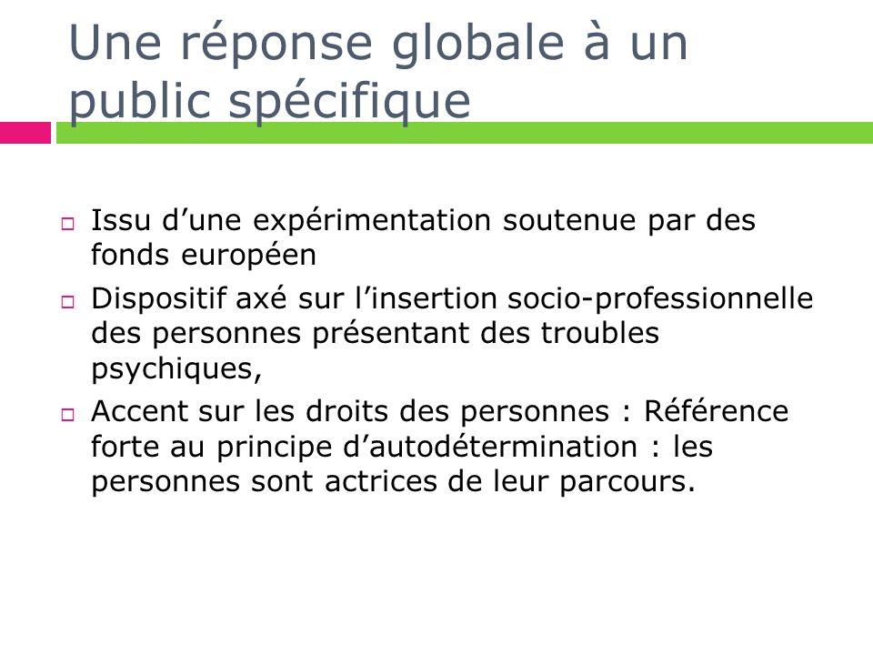 Une réponse globale à un public spécifique Issu dune expérimentation soutenue par des fonds européen Dispositif axé sur linsertion socio-professionnel