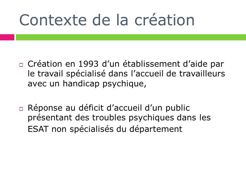 Contexte de la création Création en 1993 dun établissement daide par le travail spécialisé dans laccueil de travailleurs avec un handicap psychique, Réponse au déficit daccueil dun public présentant des troubles psychiques dans les ESAT non spécialisés du département