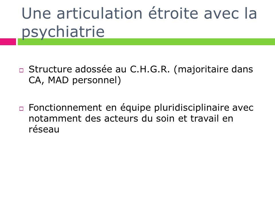 Une articulation étroite avec la psychiatrie Structure adossée au C.H.G.R. (majoritaire dans CA, MAD personnel) Fonctionnement en équipe pluridiscipli
