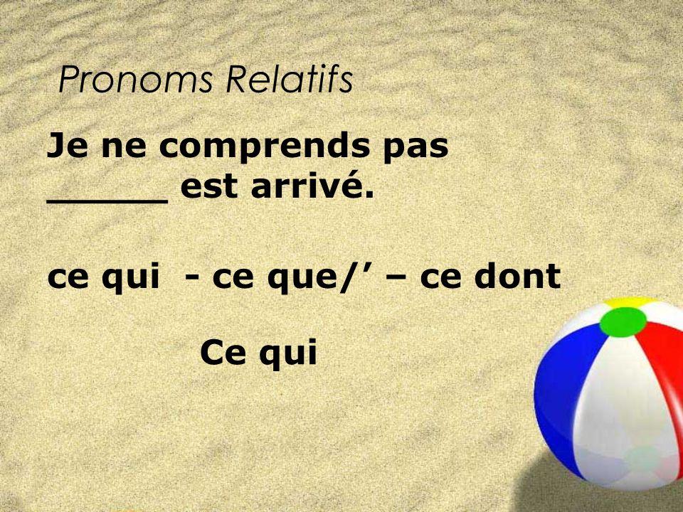 Pronoms Relatifs ce qui - ce que/ – ce dont Je ne comprends pas _____ est arrivé. Ce qui