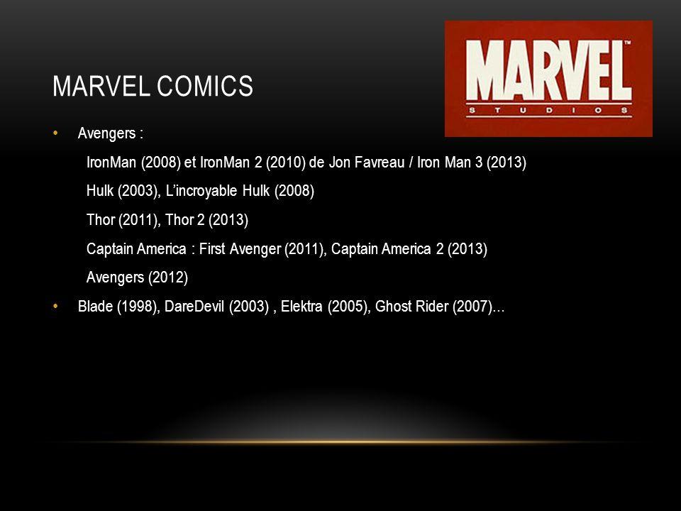 MARVEL COMICS Avengers : IronMan (2008) et IronMan 2 (2010) de Jon Favreau / Iron Man 3 (2013) Hulk (2003), Lincroyable Hulk (2008) Thor (2011), Thor 2 (2013) Captain America : First Avenger (2011), Captain America 2 (2013) Avengers (2012) Blade (1998), DareDevil (2003), Elektra (2005), Ghost Rider (2007)…