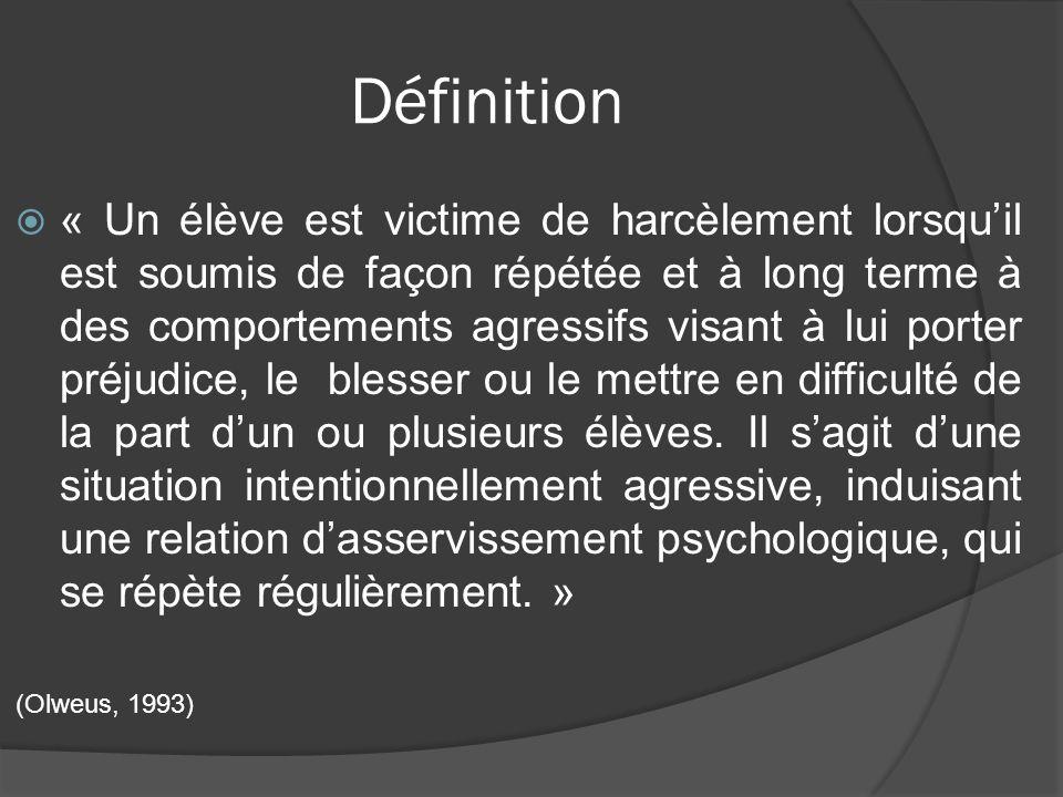 Définition « Un élève est victime de harcèlement lorsquil est soumis de façon répétée et à long terme à des comportements agressifs visant à lui porte