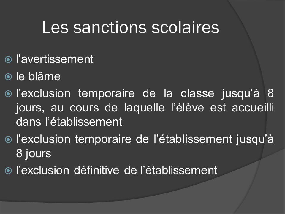 Les sanctions scolaires lavertissement le blâme lexclusion temporaire de la classe jusquà 8 jours, au cours de laquelle lélève est accueilli dans léta