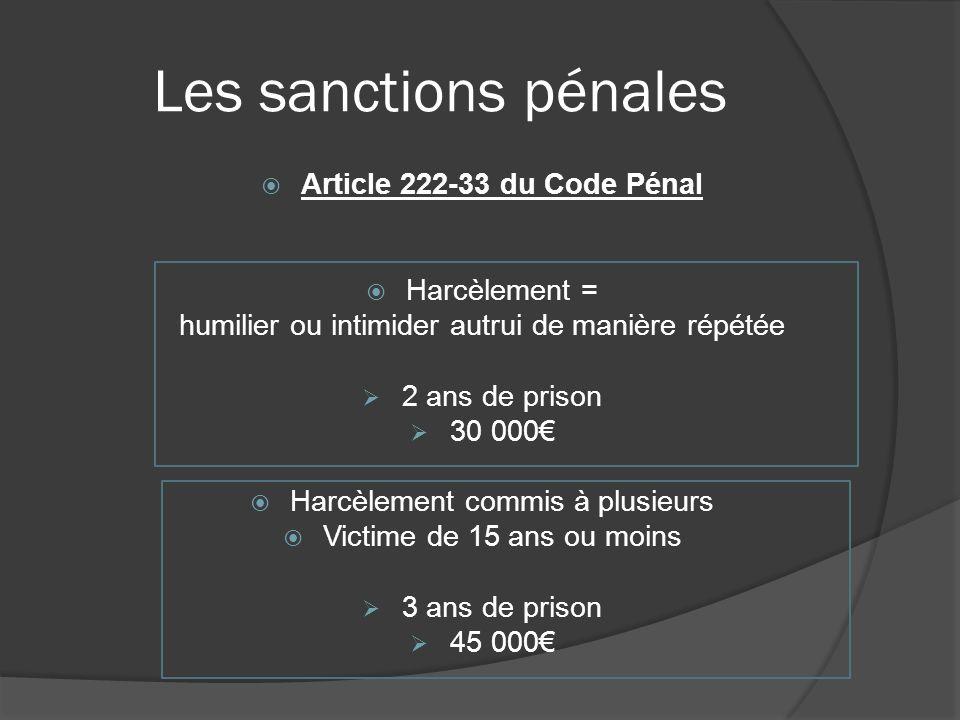 Les sanctions pénales Article 222-33 du Code Pénal Harcèlement = humilier ou intimider autrui de manière répétée 2 ans de prison 30 000 Harcèlement co