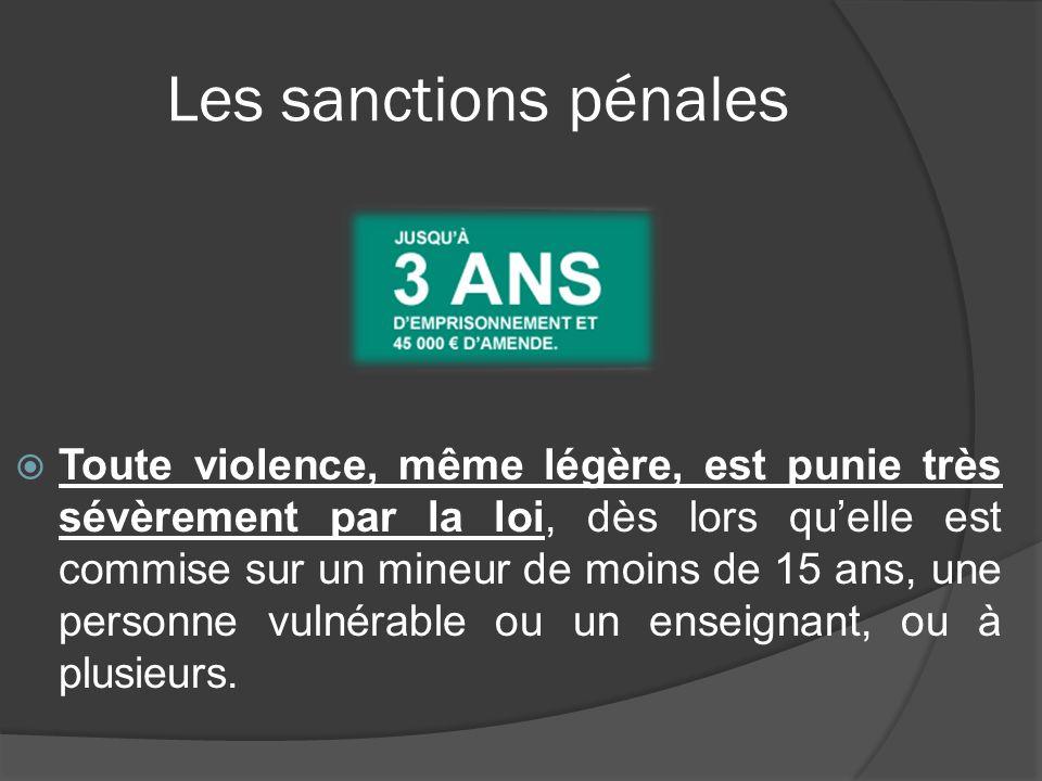 Les sanctions pénales Toute violence, même légère, est punie très sévèrement par la loi, dès lors quelle est commise sur un mineur de moins de 15 ans,