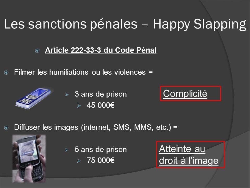 Article 222-33-3 du Code Pénal Filmer les humiliations ou les violences = 3 ans de prison 45 000 Diffuser les images (internet, SMS, MMS, etc.) = 5 an