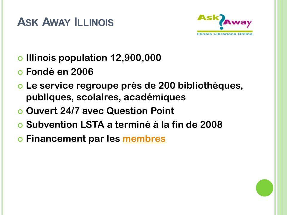 A SK A WAY I LLINOIS Illinois population 12,900,000 Fondé en 2006 Le service regroupe près de 200 bibliothèques, publiques, scolaires, académiques Ouvert 24/7 avec Question Point Subvention LSTA a terminé à la fin de 2008 Financement par les membresmembres