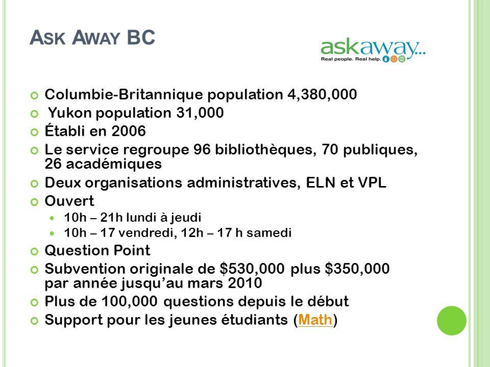 A SK A WAY BC Columbie-Britannique population 4,380,000 Yukon population 31,000 Établi en 2006 Le service regroupe 96 bibliothèques, 70 publiques, 26 académiques Deux organisations administratives, ELN et VPL Ouvert 10h – 21h lundi à jeudi 10h – 17 vendredi, 12h – 17 h samedi Question Point Subvention originale de $530,000 plus $350,000 par année jusquau mars 2010 Plus de 100,000 questions depuis le début Support pour les jeunes étudiants (Math)Math