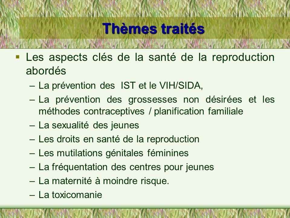 Thèmes traités Les aspects clés de la santé de la reproduction abordés –La prévention des IST et le VIH/SIDA, –La prévention des grossesses non désiré