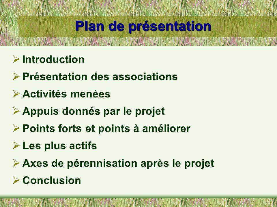 Plan de présentation Introduction Présentation des associations Activités menées Appuis donnés par le projet Points forts et points à améliorer Les pl