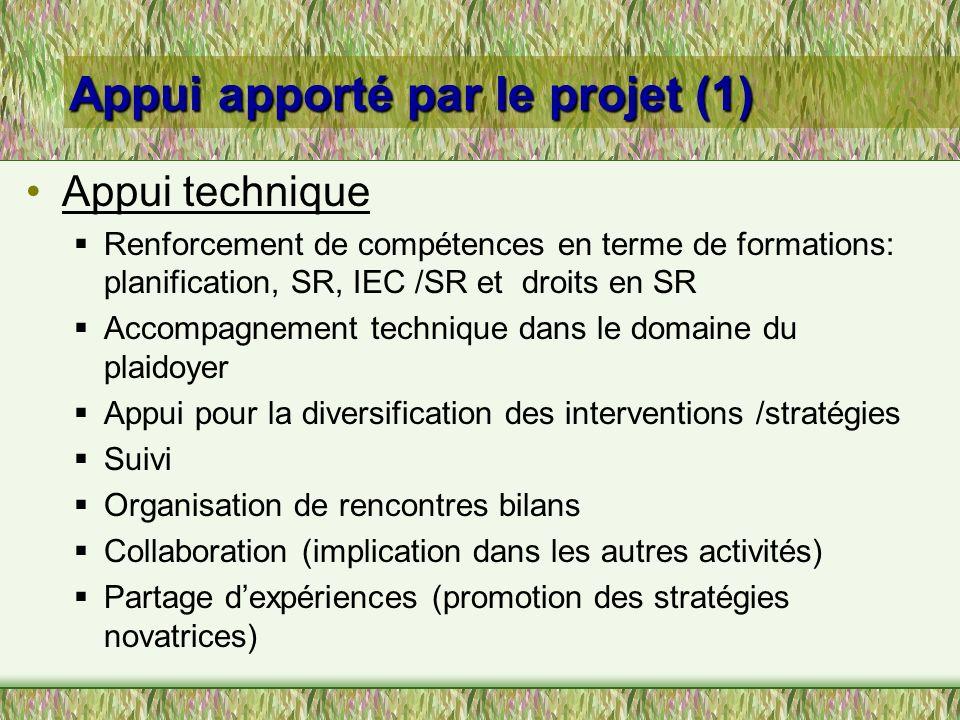 Appui apporté par le projet (1) Appui apporté par le projet (1) Appui technique Renforcement de compétences en terme de formations: planification, SR,