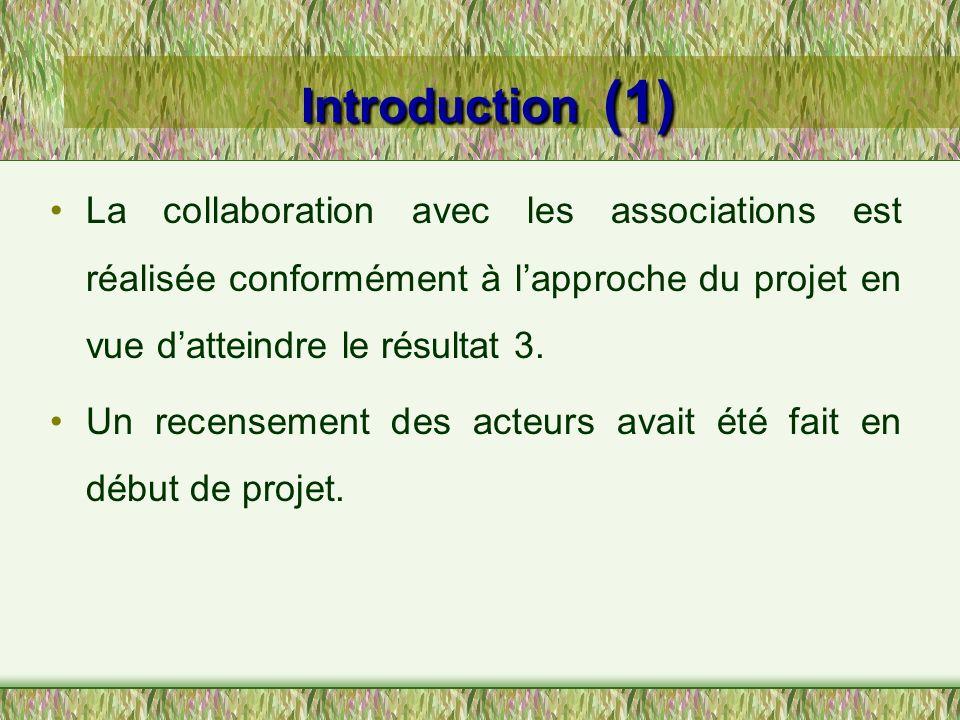 Introduction (1) La collaboration avec les associations est réalisée conformément à lapproche du projet en vue datteindre le résultat 3. Un recensemen