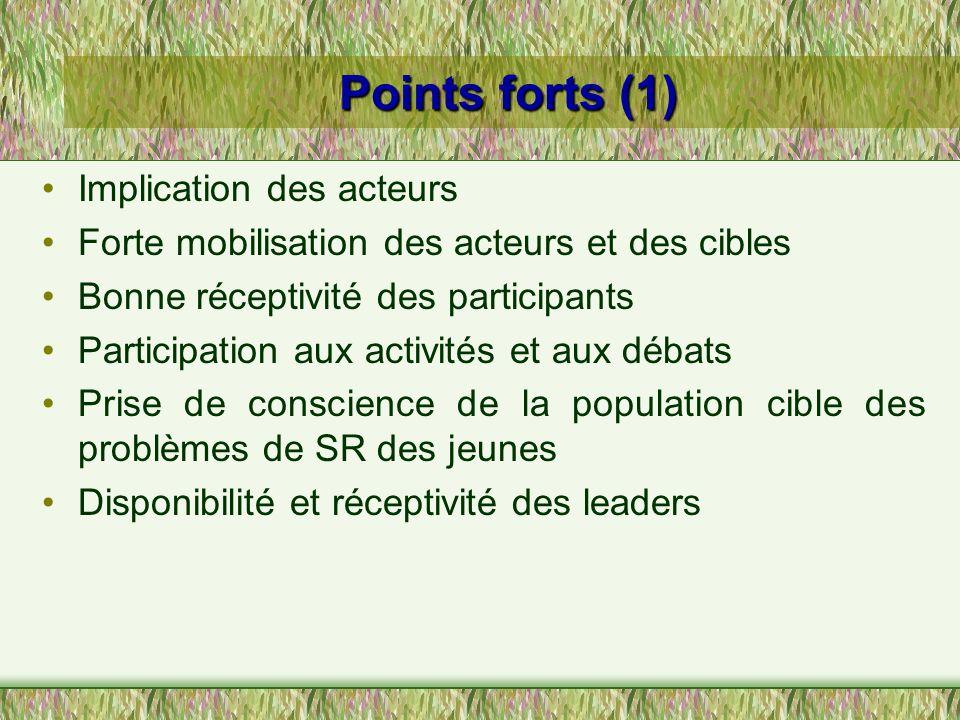 Points forts (1) Implication des acteurs Forte mobilisation des acteurs et des cibles Bonne réceptivité des participants Participation aux activités e