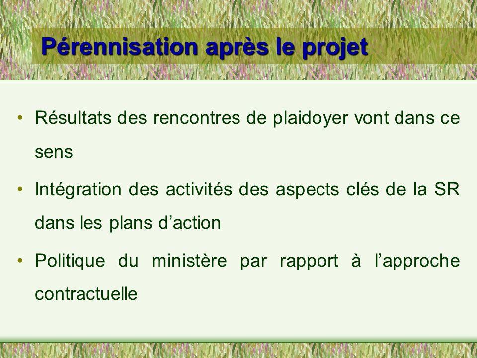 Pérennisation après le projet Résultats des rencontres de plaidoyer vont dans ce sens Intégration des activités des aspects clés de la SR dans les pla