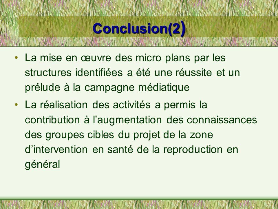 Conclusion(2 ) La mise en œuvre des micro plans par les structures identifiées a été une réussite et un prélude à la campagne médiatique La réalisatio
