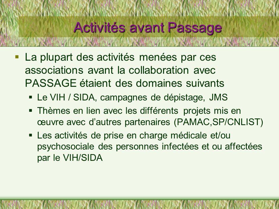 Activités avant Passage La plupart des activités menées par ces associations avant la collaboration avec PASSAGE étaient des domaines suivants Le VIH