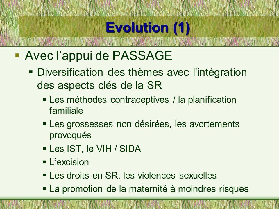 Evolution (1) Avec lappui de PASSAGE Diversification des thèmes avec lintégration des aspects clés de la SR Les méthodes contraceptives / la planifica