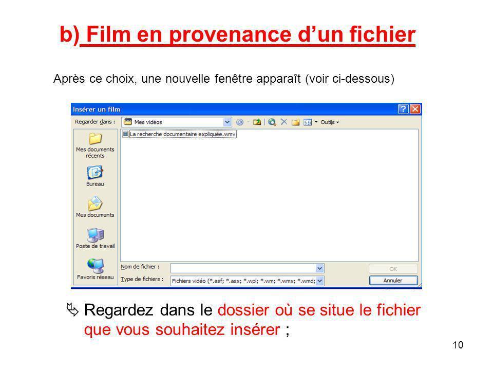 9 a)Film de la Bibliothèque multimédia –Après ce choix, un volet de résultats - apparaît à la droite de votre diapositive ; –Cliquez sur le fichier que vous souhaitez insérer ;