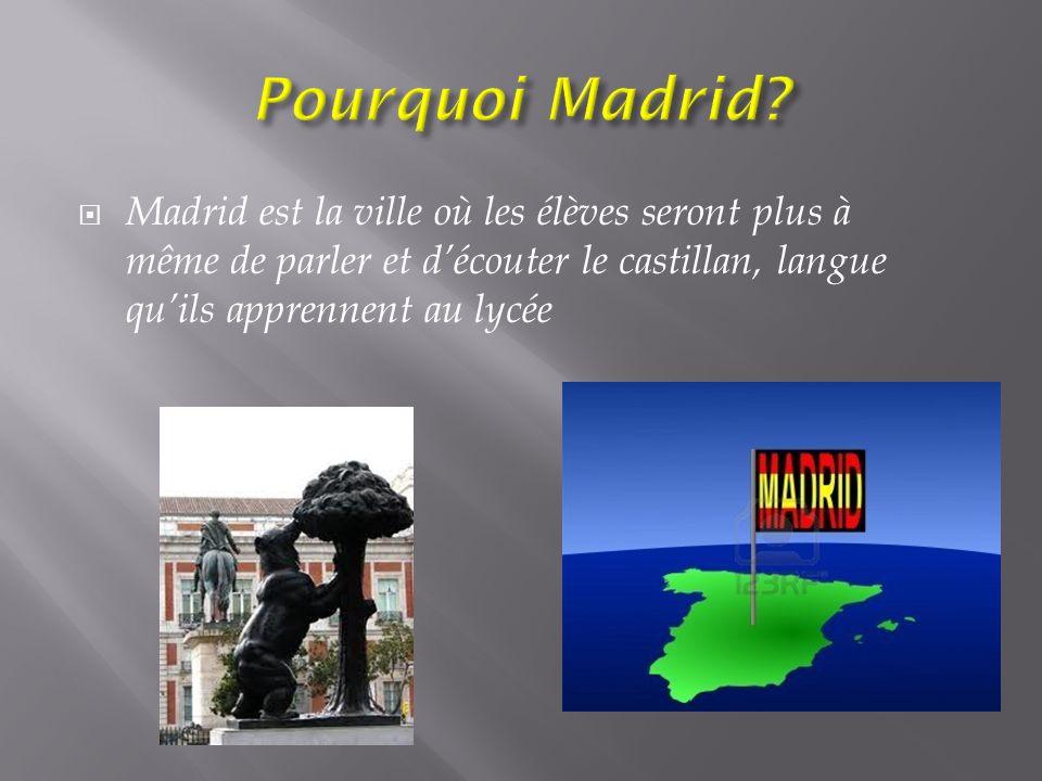 Madrid est la ville où les élèves seront plus à même de parler et découter le castillan, langue quils apprennent au lycée