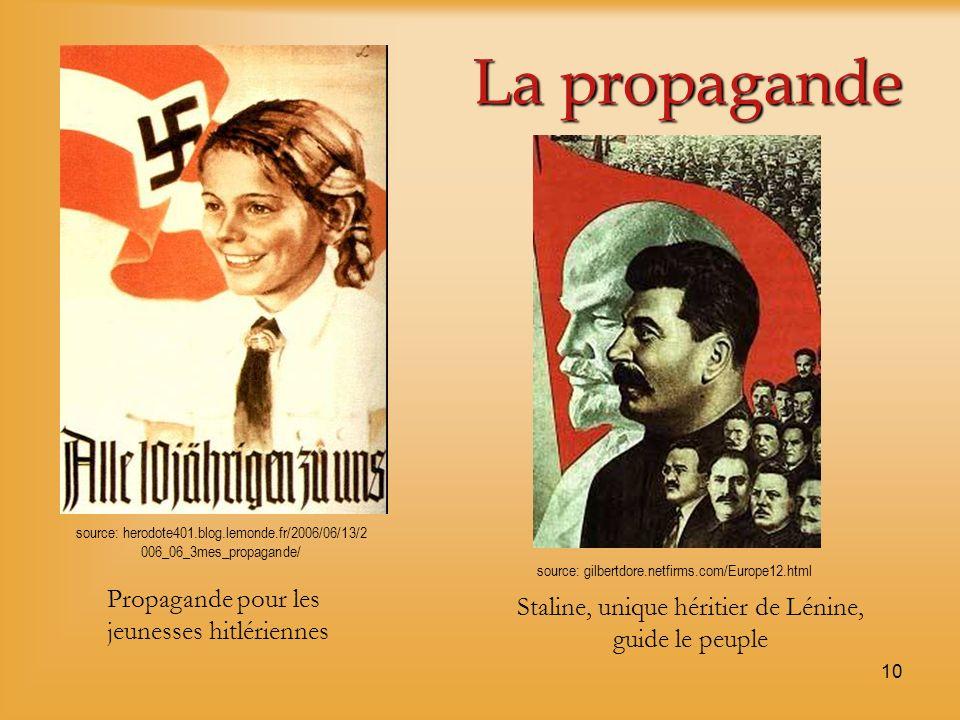 10 La propagande Propagande pour les jeunesses hitlériennes Staline, unique héritier de Lénine, guide le peuple source: herodote401.blog.lemonde.fr/20