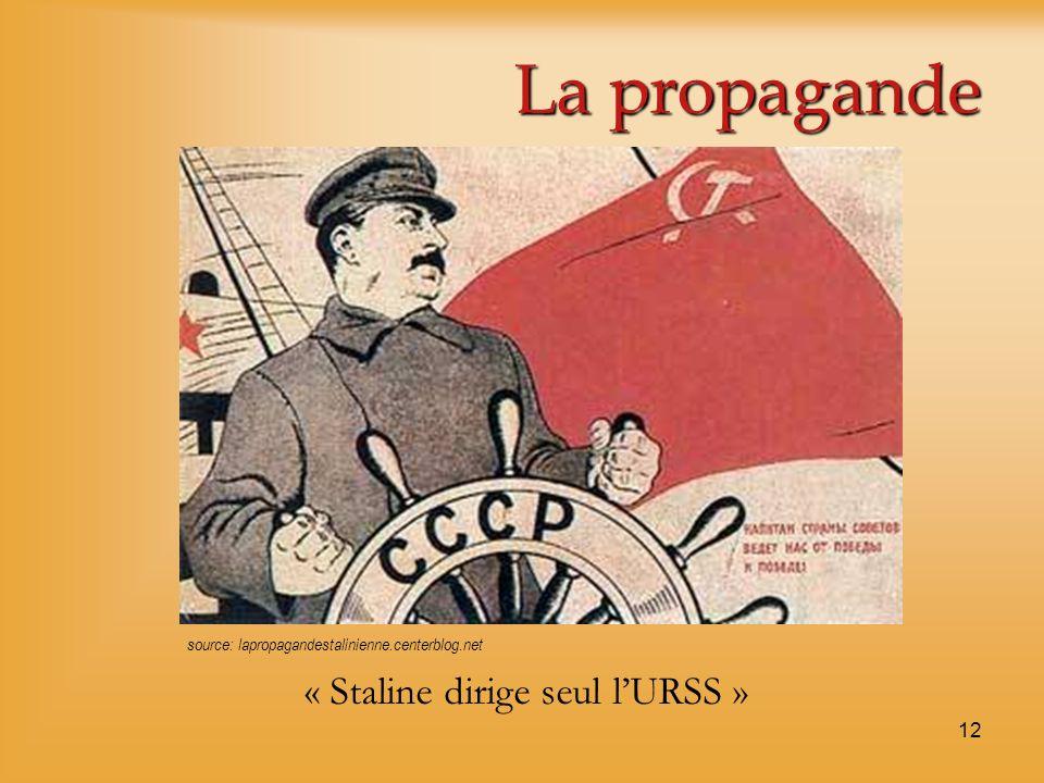 12 La propagande « Staline dirige seul lURSS » source: lapropagandestalinienne.centerblog.net