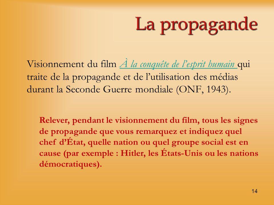 14 La propagande Visionnement du film À la conquête de lesprit humain qui traite de la propagande et de lutilisation des médias durant la Seconde Guer