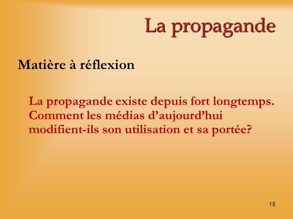 La propagande Matière à réflexion La propagande existe depuis fort longtemps. Comment les médias daujourdhui modifient-ils son utilisation et sa porté