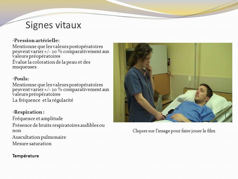 Signes vitaux Pression artérielle: Mentionne que les valeurs postopératoires peuvent varier +/- 20 % comparativement aux valeurs préopératoires Évalue