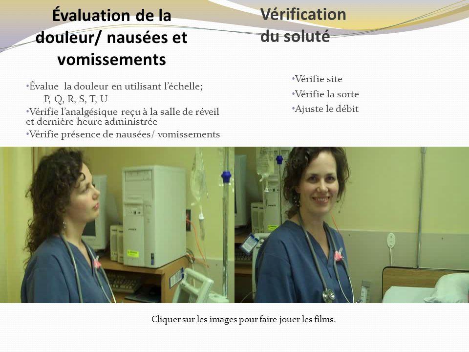 Vérification du soluté Évalue la douleur en utilisant léchelle; P, Q, R, S, T, U Vérifie lanalgésique reçu à la salle de réveil et dernière heure admi