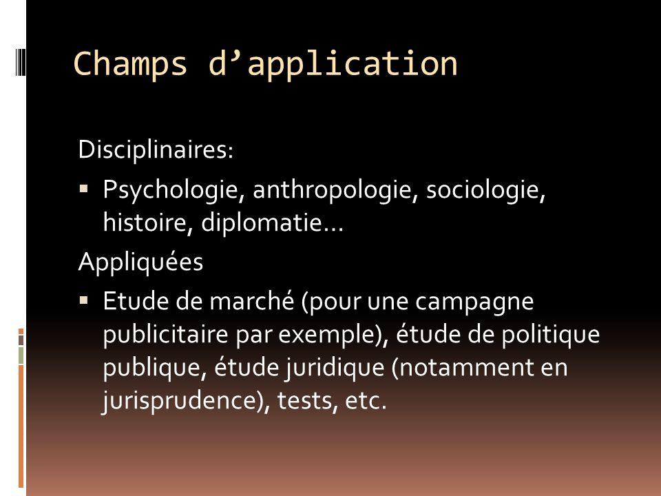 Champs dapplication Disciplinaires: Psychologie, anthropologie, sociologie, histoire, diplomatie… Appliquées Etude de marché (pour une campagne public
